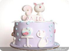 cat & fish birthday cake