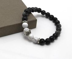 Elastic Lava Stone and Onyx Bracelet with Silver Crown Charm