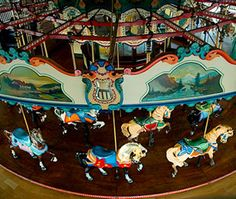 This wooden carousel on the Santa Monica Pier in California is almost 100 years old and is still a favorite to locals and tourists.
