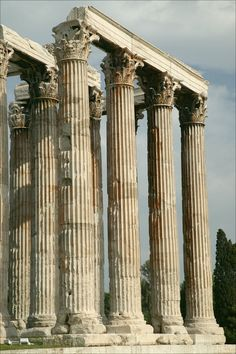 Only 15 Corinthian columns that are part of the Temple of Olympian Zeus remain standing, out of 104 that were part of the original