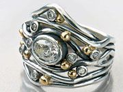 Free Flowing Argentium and Gold Wedding Band by Sam Patania