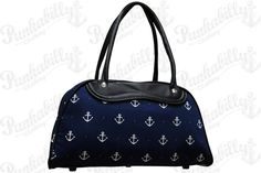 Simplicity and awesomeness, that's what this bowling bag brings you, The bag is navy blue, while the handles are black. There are numerous white anchors printed all over this accessory. And it's very practical - it has an extra zip pocket inside. Easy rockabilly style comes in pure symbols. Size: 14