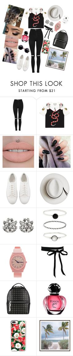 """""""Tropical"""" by annaconley on Polyvore featuring Topshop, Gucci, Calypso Private Label, Dolce&Gabbana, Accessorize, Nixon, Philipp Plein, Casetify and Pottery Barn"""