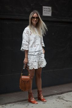 White dress and lace-up flats #NYFW2015