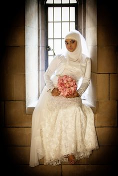 White wedding gown with matching hijab - Beautiful Muslim Wedding by Engaging Images