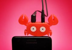 Faunaphones by Eduardo Alessi Will Be Your Mobile Best Friends - The crab is an audio splitter, the gator holds your phone up, the octopus is a cord wrapper!