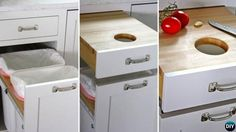 DIY Cutting Board Drawer Over Trash Brilliant Kitchen Storage Solutions You Can Make Yourself Diy Kitchen, Kitchen Decor, Kitchen Hacks, Diy Cutting Board, Kitchen Storage Solutions, Kitchen Drawers, Kitchen Countertops, Home Kitchens, Kitchen Remodel