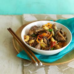 A gutsy beef stir fry with earthy mushrooms, the succulent meat absorbs the delicious Asian flavours beautifully. Find more speedy suppers over on prima.co.uk
