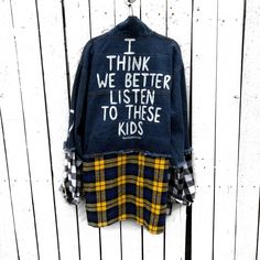 Listening to the kids and supporting - hit the link Punk Outfits, Mode Outfits, Fashion Tips For Women, Diy Fashion, Mens Fashion, Kids Denim Jacket, Custom Clothes, Jackets For Women, Women's Jackets