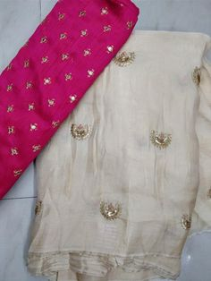 Jute Georgette sarees with blouse - Elegant Fashion Wear Trendy Sarees, Stylish Sarees, Fancy Sarees, Silk Saree Blouse Designs, Blouse Neck Designs, Blouse Patterns, Chiffon Saree, Georgette Sarees, Silk Sarees