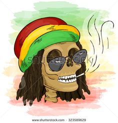 vector printable hand drawn reggae smoking skull wearing rasta hat, sunglasses…