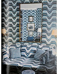Boundaries start to be pushed in decor — like in this wildly wavy-patterned living room from a 1966 issue of House Beautiful. See more of our favorite blue rooms from the archives Mod Furniture, Red Color Schemes, Elegant Dining Room, Blue Rooms, Home Look, Beautiful Homes, House Beautiful, House Colors, Blue And White