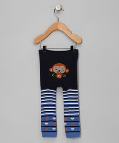 Too cute! Love this Blue Stripe Laughing Monkey Pants - Infant by Legwarmers Warehouse on #zulily! #zulilyfinds