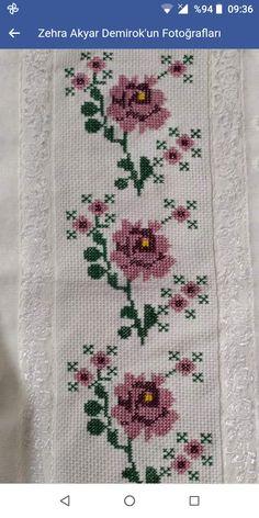 Cross Stitch Borders, Cross Stitch Rose, Palestinian Embroidery, Crochet Bedspread, Filet Crochet, Baby Knitting Patterns, Floral, Crafts, Photo Craft