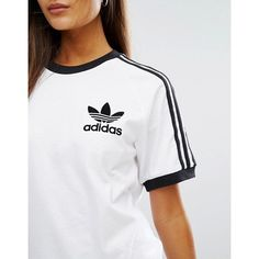 adidas Originals White Three Stripe T-Shirt ($30) ❤ liked on Polyvore featuring tops, t-shirts, white tee, cotton t shirts, white striped t shirt, raglan t shirt and adidas t shirt