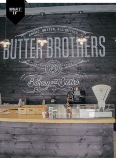 butter brothers // budapest - love the store name displayed Cafe Bar, Cafe Bistro, Cafe Shop, Hotel Restaurant, Restaurant Branding, Restaurant Design, Restaurant Exterior, Thai Restaurant, Logo Branding