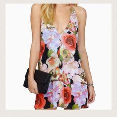 FinalHP deep v floral halter shift dress NWT women's floral print halter shift dress Size: Large Material: shell-100% rayon lining-100%polyester interlock Tobi Dresses