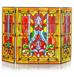 28inchH Stained Glass Fleur de Lis Fireplace Screen
