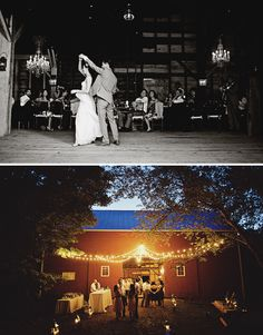 lighting is soooo important.  Chandeliers in the rustic barn.  Globe lights coming off from above the barn door.  Perfect