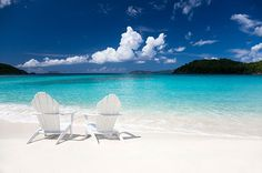 White Caribbean  beach, chairs and islands
