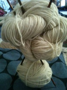 Winding some Easy Knits merino wool with alpaca yarn. It's in-dyed, as I may want to dye it myself.
