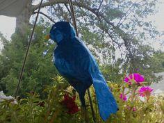 .paper mache bird on skewer plant decoration by Juli@