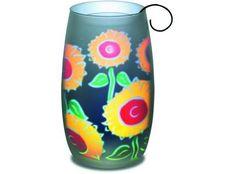 #Sonnenlicht Sonnenblumen-Motiv, Glas in Einzelkartonage #Frühling #Deko #Dekoration Autumn Lights, Happy Summer, Frosted Glass, Tea Lights, Lanterns, Vase, Terrace, Prints, Candle