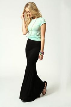 anna jersey fishtail maxi skirt charcoal
