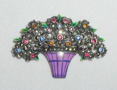 Art Deco Sterling Silver Marcasite Flower Pot Enamel Enameled Brooch Pin