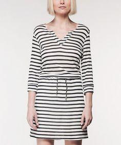 Look at this #zulilyfind! Mickey & Jenny Black & White Stripe Drawstring Cassandra Notch Neck Dress by Mickey & Jenny #zulilyfinds