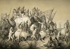 Lithograph of Sher Singh the Maharaja of the Punjab's Sikh Kingdom, and his entourage.out hunting on elephants and horses near Lahore by L.H. de Rudder (1807-1881) after an original drawing of April 1842 by Prince Aleksandr Mikhailovich. Lahore was captured by Sikhs and made Capital in 1799 by  Ranjit Singh captured the city for the Sikhs. Ranjit Singh' s rule is considered the Golden period of the Sikh Kingdom.