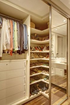 Is your closet overflowing? Here are closet storage ideas to help you gain more control over your closet space. Bedroom Closet Design, Master Bedroom Closet, Tv In Bedroom, Closet Designs, Bedroom Decor, Mirror Bedroom, Bedroom Furniture, Apartment Furniture, White Furniture