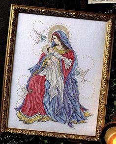 Ricami e schemi a Punto Croce gratuiti: Madonnina con la veste rossa a punto croce