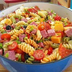 """Awesome Pasta Salad Awesome Pasta Salad I """"For as easy and versatile as this one is, it deserves 5 stars! I made this for a bridal shower and it went over as a huge hit! Best Pasta Salad, Pasta Salad Recipes, Food Salad, Bridal Shower Appetizers, Bridal Shower Foods, Easy Wedding Shower Food, Baby Shower Foods, Baby Shower Food Easy, Comida Picnic"""