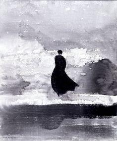 Dibujo a tinta china del escritor chino Gao Xingjian, premio nobel de literatura 2000.