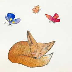 Lazy fox with butterflies - my watercolour illustration is available on my Etsy store- Edie Escargot. Watercolour Illustration, Watercolor, Illustrations And Posters, Etsy Store, Lazy, Butterflies, Etsy Seller, Fox, My Arts