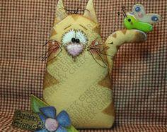 Un patrón de Purrfect amigos cuento #262 - patrón de muñeca primitiva - verano - primavera - Cat - mariposa - flor - Shelf Sitter - fibra arte