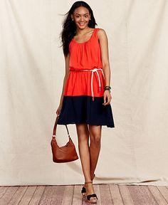 Tommy Hilfiger Dress, Sleeveless A-Line Colorblock - Tommy Hilfiger Dresses - Women - Macy's