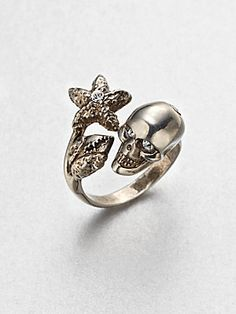 Alexander McQueen Crystal Accented Skull & Claw Ring/Silvertone