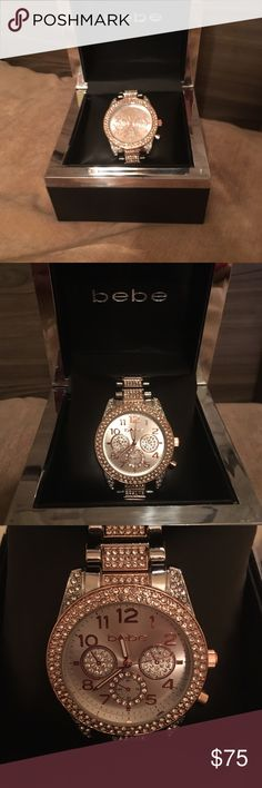 BNWB bebe Silver and Rose Watch with Crystals BRAND NEW WITH BOX!! Never used!! Including warranty paperwork bebe Accessories Watches