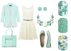 A beautiful spring outfit featuring Jamberry Nail wraps in 'Destiny', 'Lotus', and 'Zen Garden'.