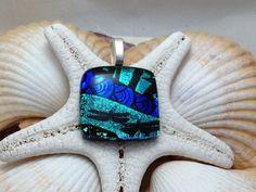 Blue & Green  Dichroic Fused Glass Jewelry by RyanstonesFusedGlass, $18.00