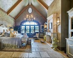 French Country Rustic Master Bedroom with Fireplace (# 16) _ This image is a part from 23 Rustic Bedroom Design Ideas With Fireplace.