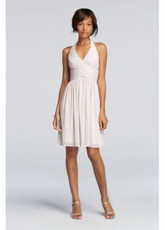 Short Mesh Pleated Dress with Halter Neckline F19073 Possible 4 colors:ballet, Capri, canary, meadow