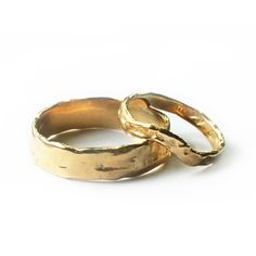 Wedding Band Set Yellow Gold Wedding Bands Organic Wedding Rings