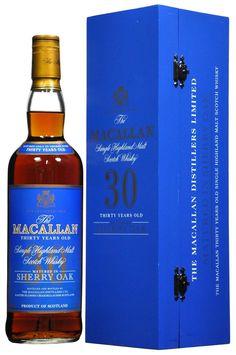 Macallan 30 Year Old 1990 Single Highland Malte Scotch Whisky. Cigars And Whiskey, Scotch Whiskey, Whiskey Bottle, Tequila, Vodka, Booze Drink, Alcoholic Drinks, Cocktails, Beverages