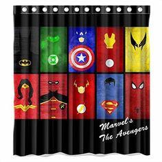Custom Batman Spiderman Superman Captain American All Characters Logo Waterproof Polyester Fabric Bathroom Shower Curtain Standard Superhero