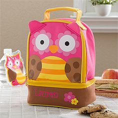 Cutest lunch bag ever! You can personalize this Sweet Owl Embroidered Lunch Bag with your little one's name for only $24.95! #Owl #Lunch