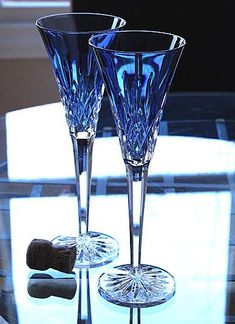 Waterford Glasses, bought these just beautiful! L♡ve blue crystal. Crystal Glassware, Waterford Crystal, Waterford Lismore, Waterford Glasses, Cut Glass, Glass Art, Wine Glass, Cobalt Glass, Cobalt Blue