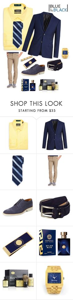 """""""Blue is the New Black"""" by mb-magic-styles ❤ liked on Polyvore featuring Nordstrom, Alexander McQueen, Neiman Marcus, Theory, Gordon Rush, 40 Colori, Cufflinks, Inc., Versace, The Art of Shaving and men's fashion"""